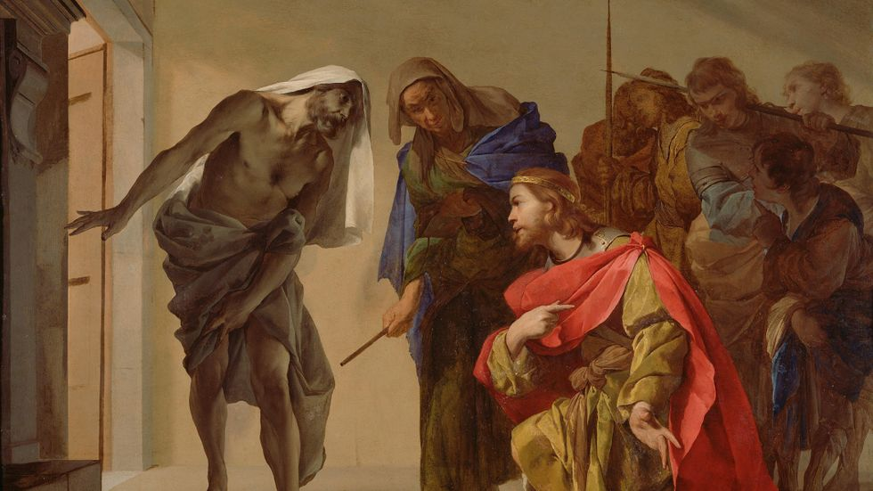 """Målningen """"The Shade of Samuel Invoked by Saul"""" av Bernardo Cavallino finns på J. Paul Getty Museum i Los Angeles."""