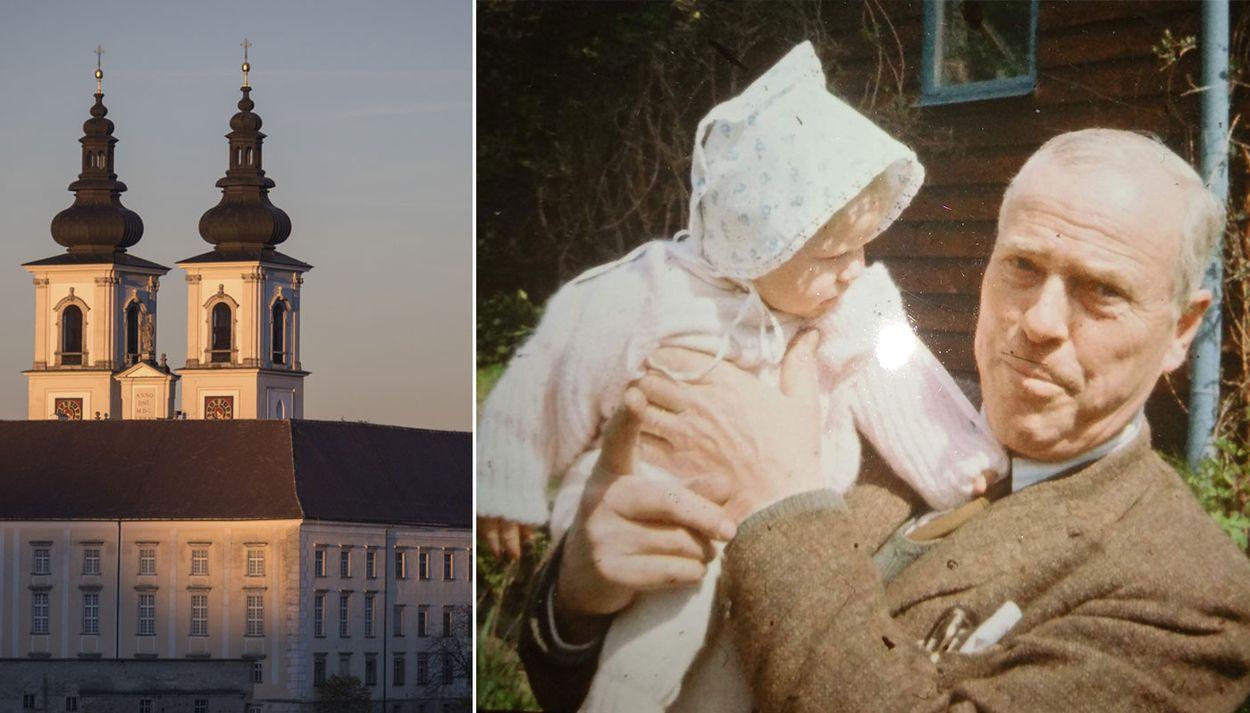 Klostret i Kremsmünster och Peder Nyblom med sondottern Sofia, 1965.