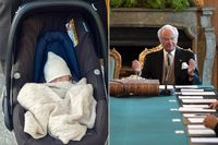 Prins Gabriel på väg hem från sjukhuset. Till höger kung Carl XVI Gustaf under konseljen.