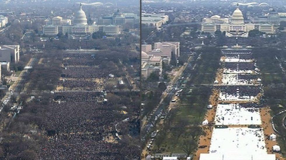 Bilderna från Obamas respektive Trumps installation är tagna vid samma klockslag. Någon officiell siffra har inte levererats från något av tillfällena. Foto: AP