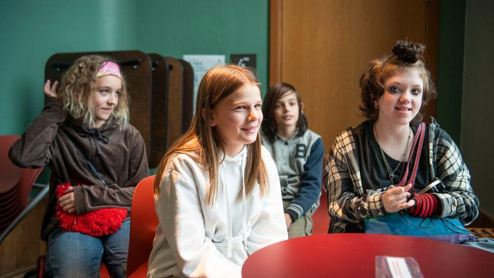 Felicia Kjellerås, 12, Anna Nilsson, 11, Aeneas Garcia Henriksson och Aron Ahlström, 12.