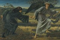 "Edward Burne-Jones, ""Love and the pilgrim"", 1896–97. Olja på duk."