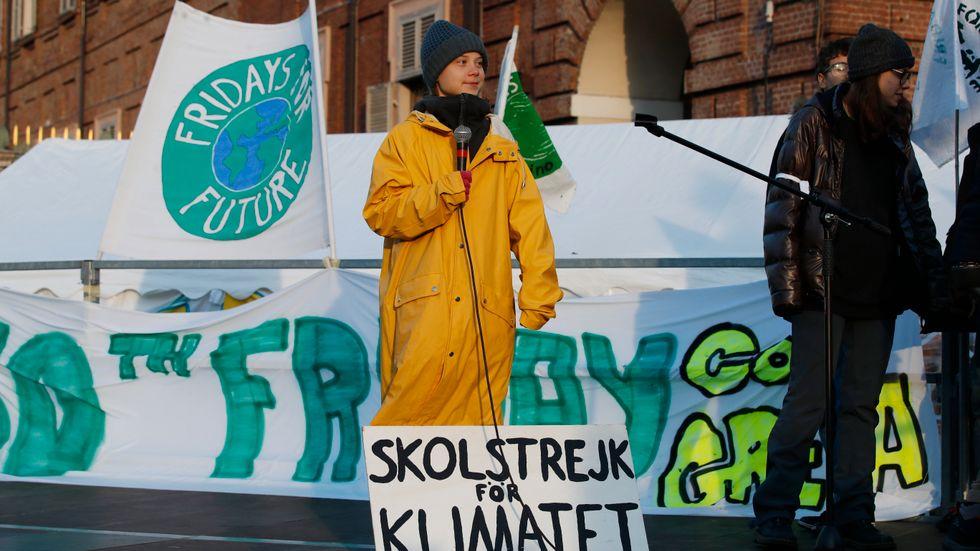 Greta Thunberg under demonstrationerna i Turin.