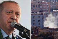President Erdogan och en bild tagen in över Syrien.