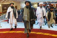 Mulla Abdul Ghani Baradar (mitten) ska enligt uppgifterna ha varit en av de grälande. Arkivbild.