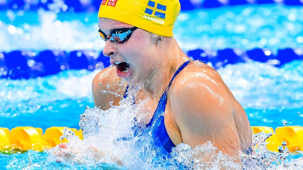 Sophie Hansson kom sexa på 100 meter bröst. Arkivbild.