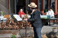 Trubaduren Mikael Edfelt underhåller ett äldreboende i Täby. Arkivbild.