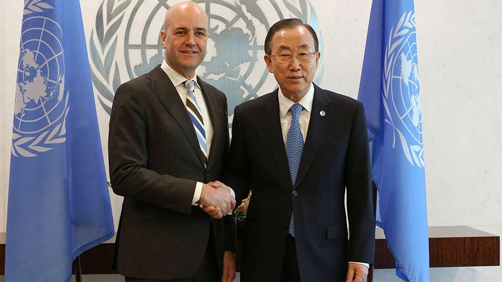 Fredrik Reinfeldt och FN:s generalsekreterare Ban Ki Moon
