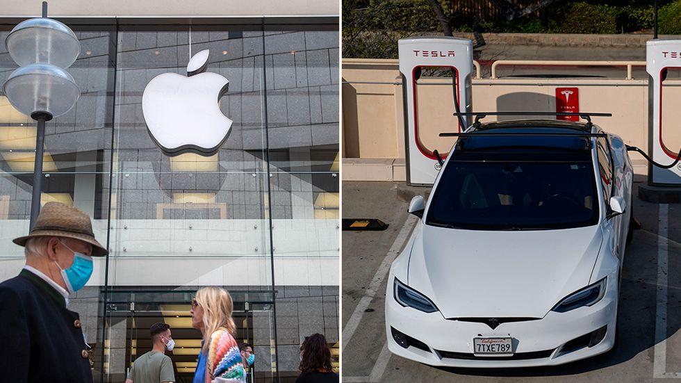 Apple och Tesla – två av de stora techbolagen vars börsuppgång bytts till kursfall den senaste veckan.