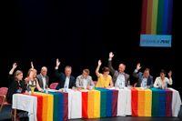 Partiledardebatt på Kulturhuset under Pridefestivalen.