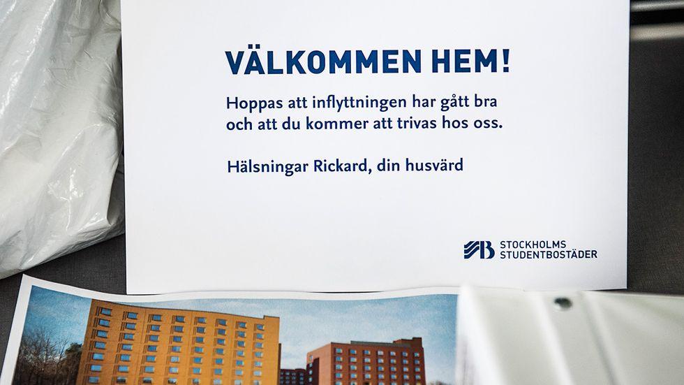 Välkomstbrev till inflyttad i nya studentbostäderna i Huvudsta i Solna.
