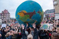 Klimatstrejk på Stortorget i Lund.