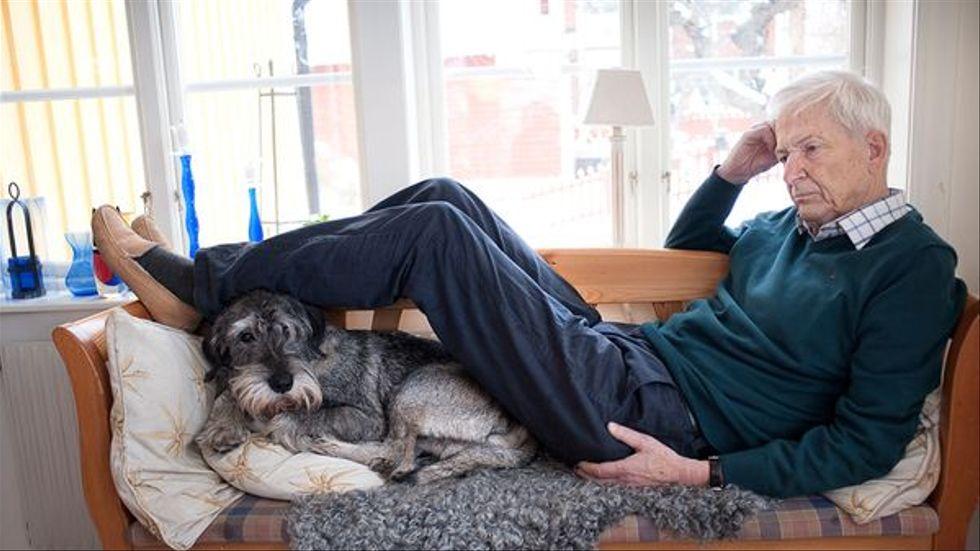 PerOlov Enquist hemma i kökssoffan med hunden Pelle under en SvD-intervju med Karin Thunberg 2013. Han blev 85 år.