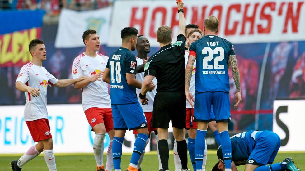 Emil Forsberg fick rött kort mot Hoffenheim. Arkivbild.