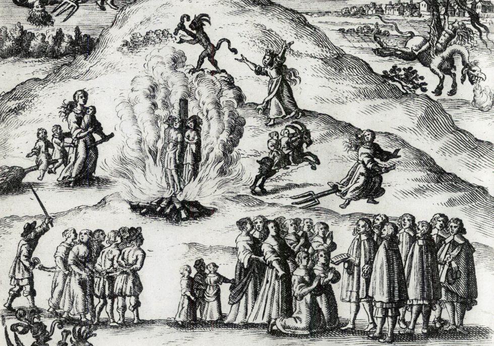 Häxprocess i Mora 1670. Tyskt kopparstick.