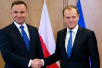 Polens president Andrzej Duda och Europeiska rådets Donald Tusk.
