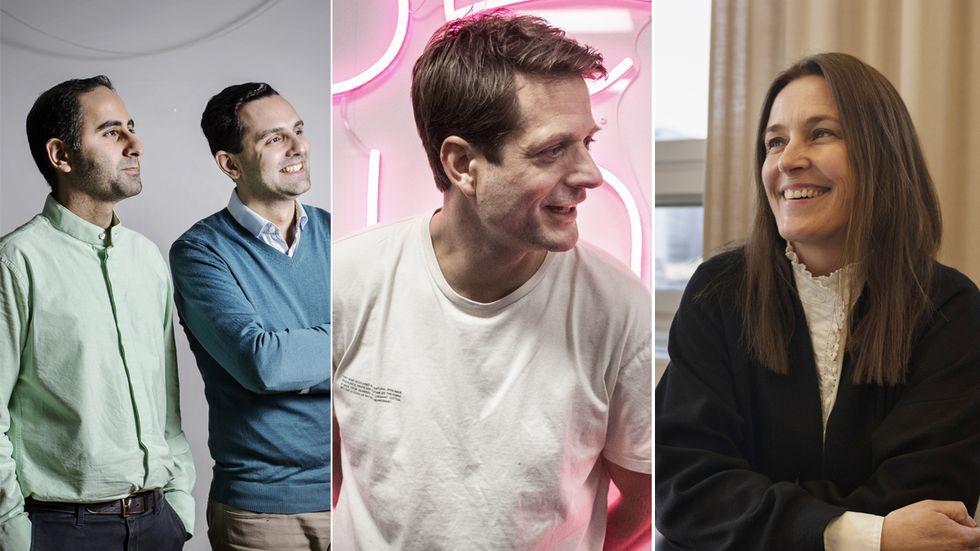 Truecallers grundare Nami Zarringhalam och Alan Mamedi, Klarnas vd Sebastian Siemiatkowski och Cecilia Beck-Friis, vd för Hemnet.