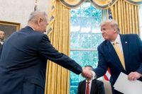 USA:s president Donald Trump skakar hand med Kinas vice premiärminister Liu He.