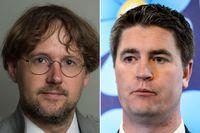 Niclas Malmberg (MP) kritiserar Oscar Sjöstedt (SD). Båda sitter i förvaltningsstiftelsens styrelse för public service-företagen.