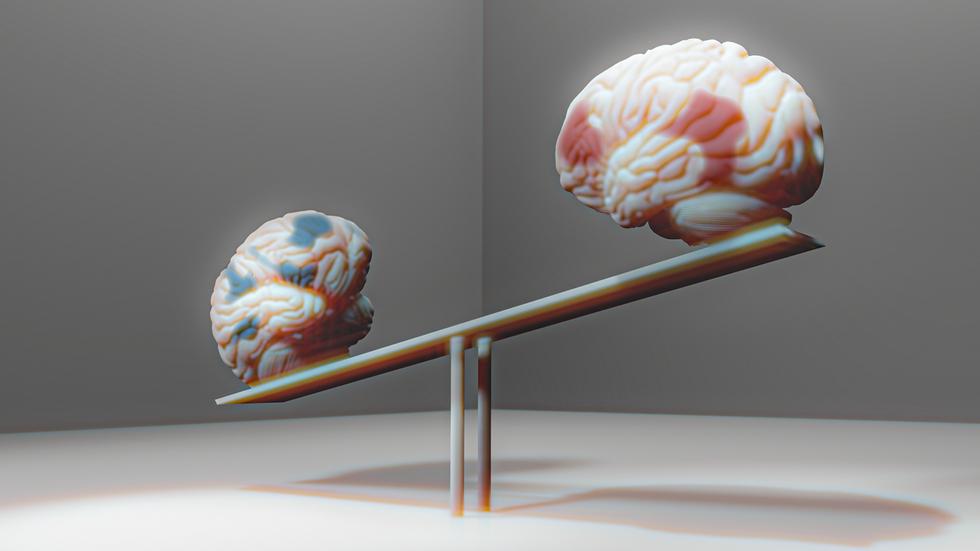 För att fokusera behöver uppmärksamhetens nätverk i hjärnan väga tyngst. Dagdrömsnätverket får hänga i luften. När uppgiften är löst ska gungbrädan vippa tillbaka. Illustration: Liv Widell