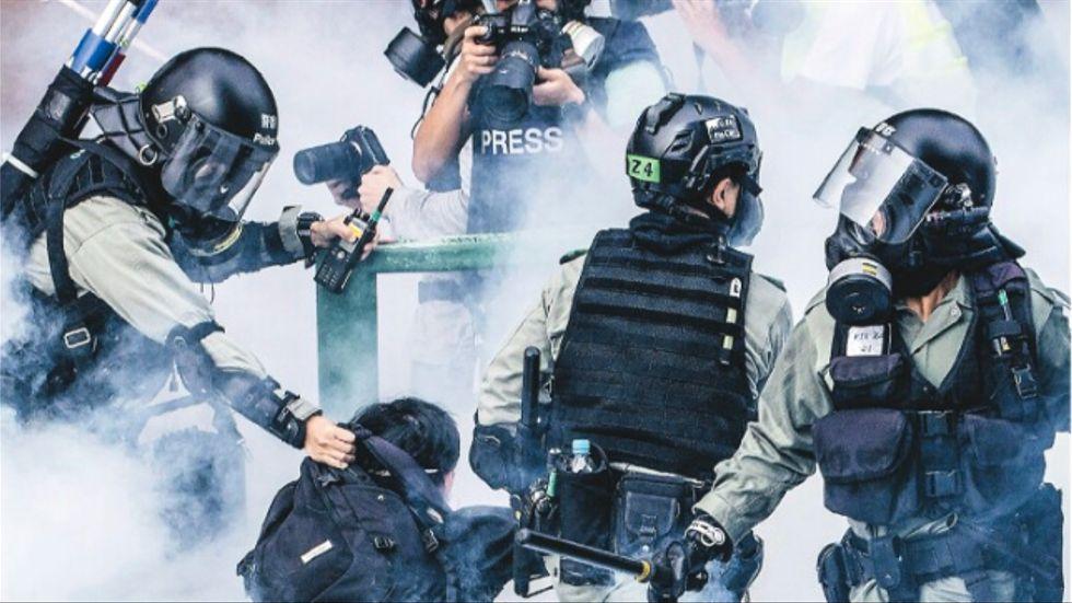 En av 2019 års våldsamma sammandrabbningar i Hongkong.