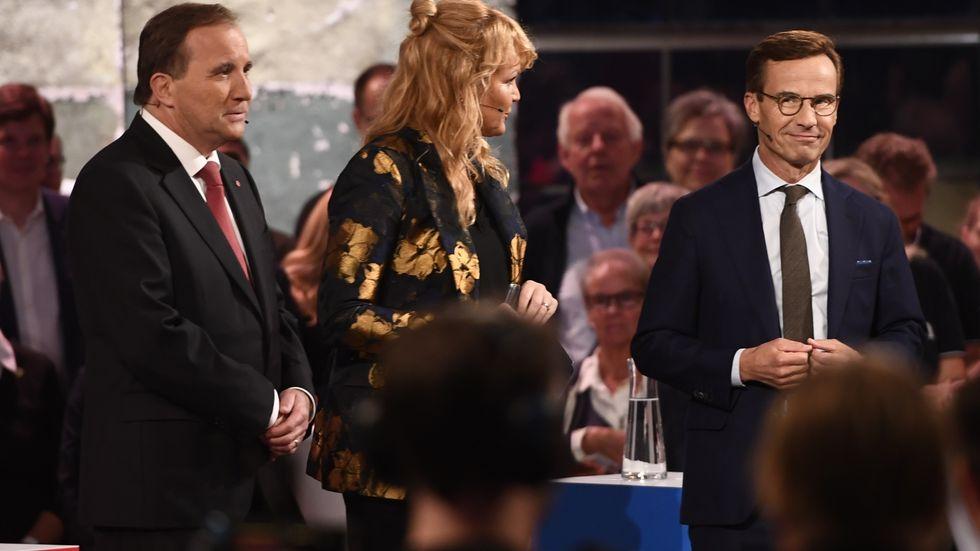 Valduell i SVT mellan Stefan Löfven (S) och Ulf Kristersson (M) med programledare Belinda Olsson.