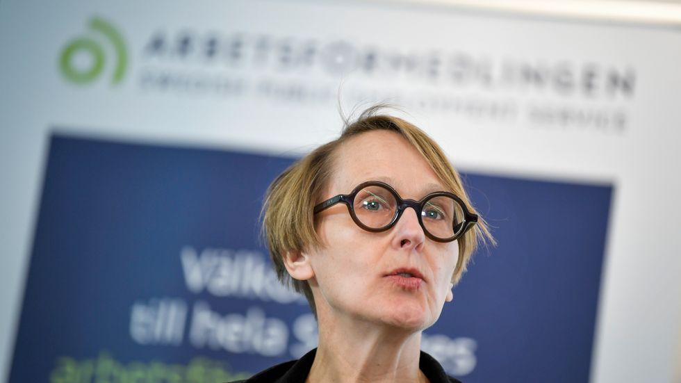 Arbetsförmedlingens analyschef Annika Sundén hade trott på högre varseltal. Arkivbild.