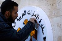 Förenade arabemiraten återöppnade sin ambassad i Damaskus i slutet av december. Här pågår arbetet med att färdigställa byggnaden inför nypremiären.