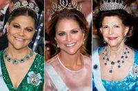 Drottning Silvia glittrar i kapp med döttrarna prinsessan Madeleine och kronprinsessan Victoria i några av Kungafamiljens många tiaror och diadem.