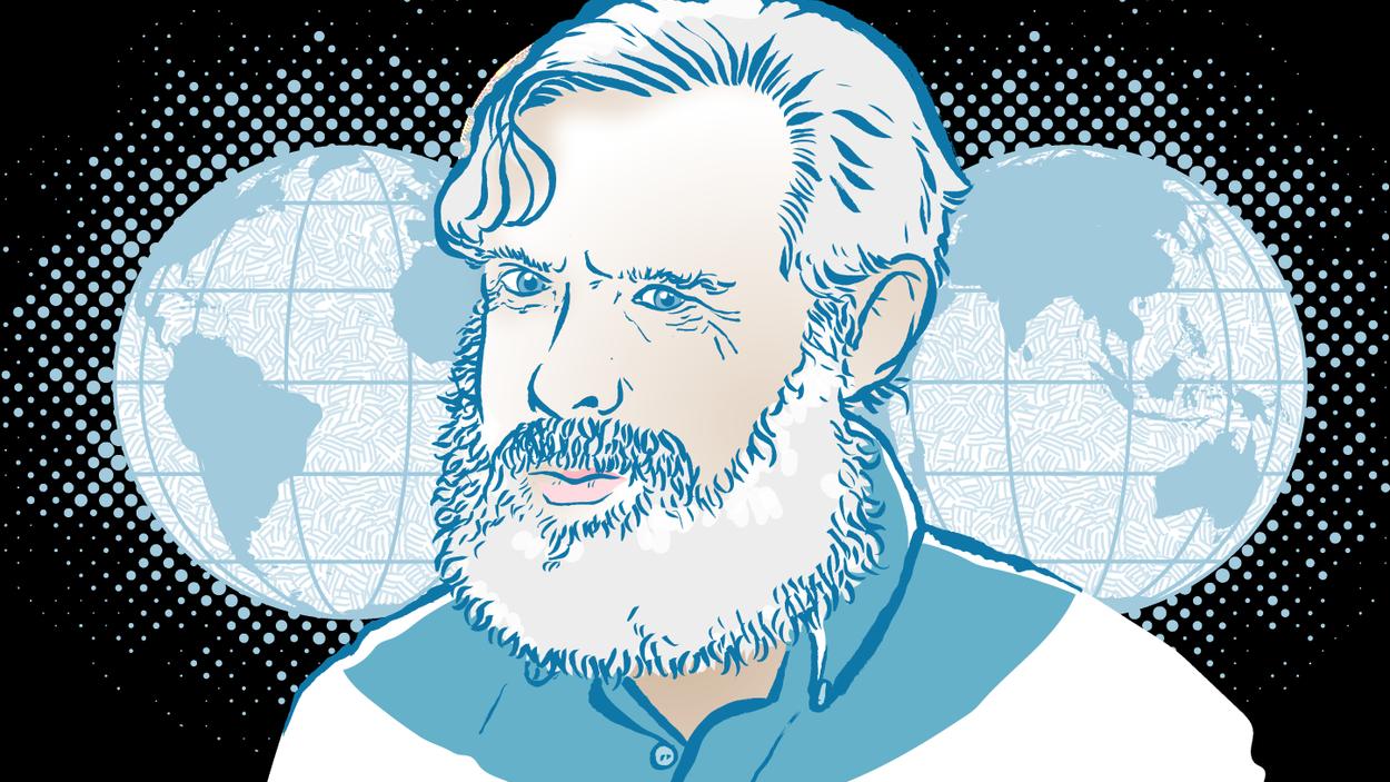 George Church, professor vid Harvard och en av världens främsta genetiker. Illustration: Thomas Molén