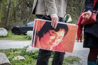Stödmanifestation för den fängslade bokförläggaren Gui Minhai utanför Kinas ambassad i Stockholm. Arkivbild.