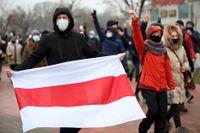 Två journalister som bevakat protester i Belarus hotas av fängelse. Arkivbild.