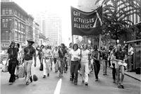 Efter Stonewallkravallerna 1969 blev demonstrationer för homosexuellas rätt en nationell angelägenhet i USA. Bilden är tagen 1971.