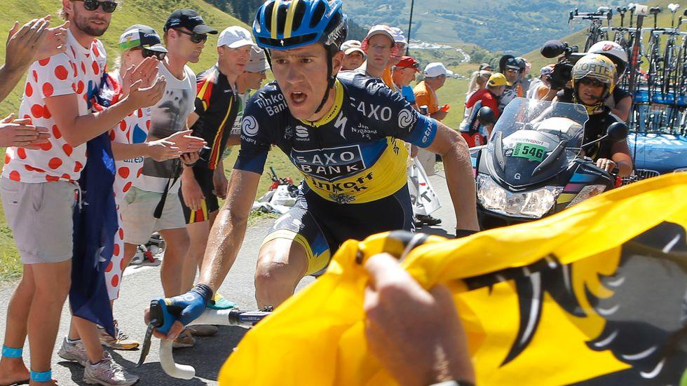 Chris Anker Sørensen under en bergsetapp i Tour de France 2012.
