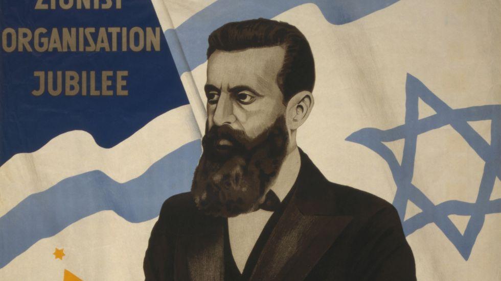 Sionismens portalfigur Theodor Herzl på en affisch producerad av Sionistiska världsorganisationen, 1947.