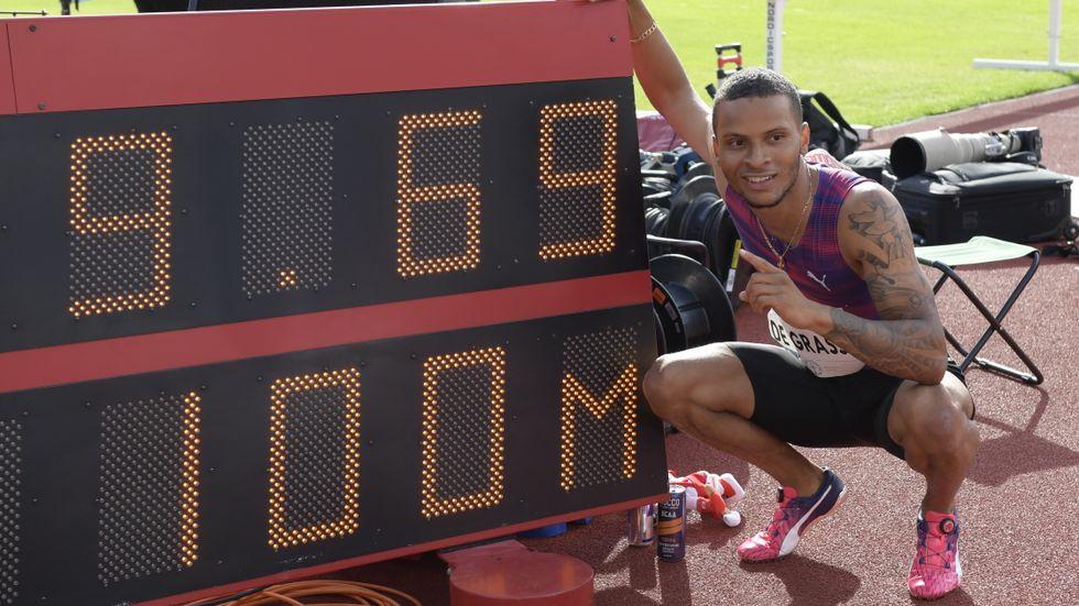 Andre De Grasse, Kanada, sprang på 9,69 på Stockholms stadion. Men vinden var för stark.