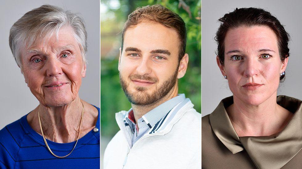 Barbro Westerholm, Christoffer Heimbrand och Lina Nordquist.