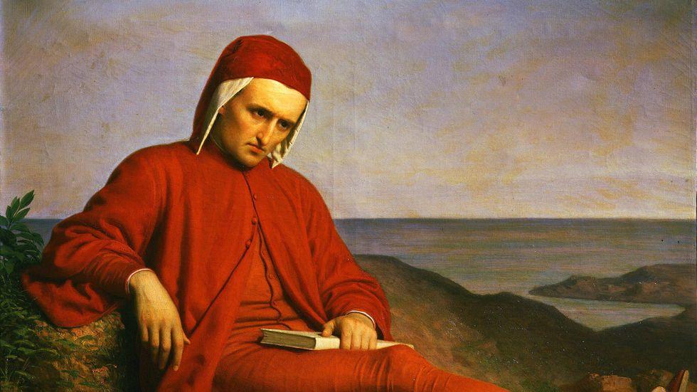 Dante Alighieri (1265–1321) gick bort för 700 år sedan. Målningen av  Domenico Petarlini (1822–1898) finns på Palazzo Pitti, Florens.