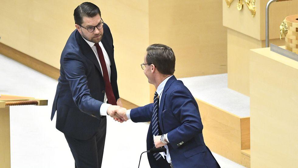 Partiledarna Jimmie Åkesson (SD) och Ulf Kristersson (M).