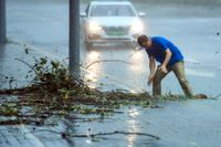 En man försöker forsla bort grenar som täpper till en brunn i staden Shenzhen i provinsen Guangdong i Kina.