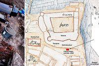 Arkeologer undersöker resterna av det man tror kan vara Helga lekamens gille vid Slottsbacken.