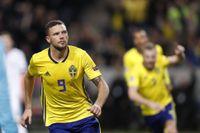 Marcus Berg firar sitt 2–0 mål mot Ryssland på Friends i november förra året. Arkivbild.
