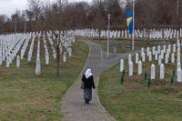 Minnesplatsen för offren i Srebrenica. Arkivbild