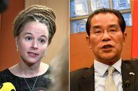 Amanda Lind (MP) riskerar att portas från Kina uppger Kinas ambassadör Gui Congyou.