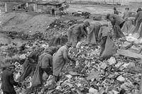 Arbetslösa män letar bland sopbergen i en av Seattles invandrartäta kåkstäder, våren 1937.