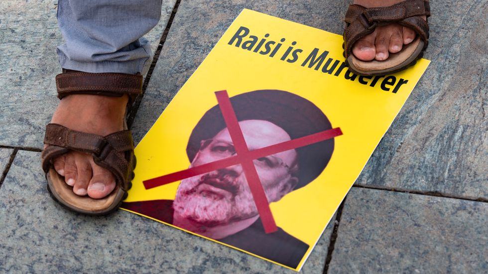 Demonstration i Berlin mot Irans president.