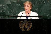 Chiles före detta president Michelle Bachelet talar inför FN:s generalförsamling 2017.