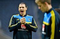 Zlatan på onsdagens träning.