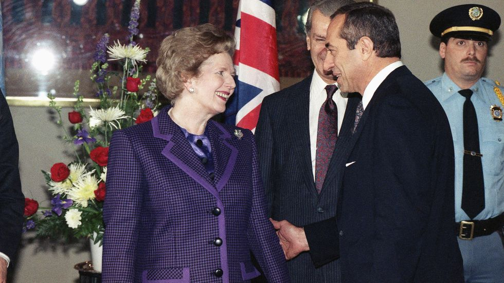 Margaret Thatcher efter talet i FN den 8 november 1989.