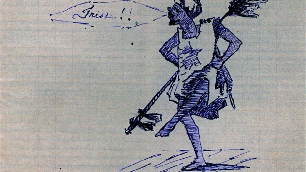 Teckning ur brev från Heidenstam till Strindberg...